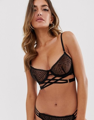 Bluebella Sydney zigzag mesh detail bra in black