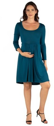 24/7 Comfort Apparel 24seven Comfort Apparel Casual Long Sleeve Pleated Maternity Dress