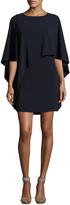 Halston Flowy-Sleeve Boat-Neck Asymmetric Drape Dress