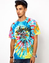 Stussy T-shirt Tie Dye World Tour Logo
