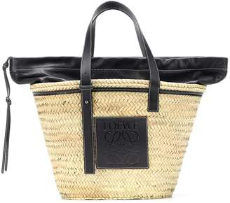 Loewe Leather-trimmed woven basket tote
