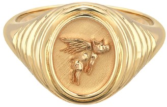 Retrouvaí Flying Pig Signet Ring - Yellow Gold