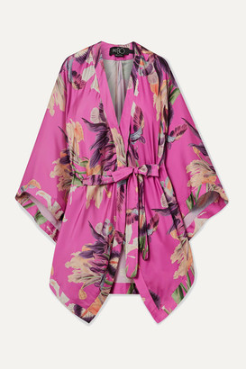 PatBO Grace Floral-print Charmeuse Kimono - Fuchsia