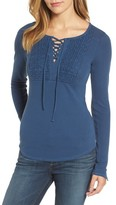 Lucky Brand Women's Lace-Up Bib Thermal Top