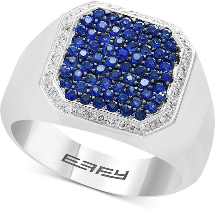 Effy Men Sapphire (1-1/5 ct. t.w.) & Diamond (1/6 ct. t.w.) Ring in Sterling Silver