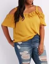 Charlotte Russe Plus Size Crochet-Trim Cold Shoulder Top