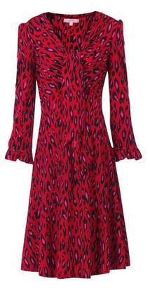 Dorothy Perkins Womens *Jolie Moi Red Leopard Print Tie Front Skater Dress, Red