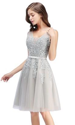 Babyonlinedress Short/Mini V Neck Straps Lace Applique Tulle Prom Dress Cocktail Party Dresses ZLCPS341 Silver Size 6
