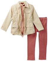 7 For All Mankind Khaki Jacket, Tee, & Jean Set (Toddler Girls)