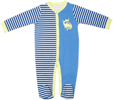 Cutie Pie Baby Blue & Yellow Stripe Dinosaur Footie