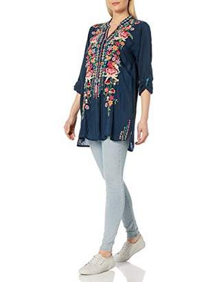 Johnny Was Women's Long Sleeve Rayon Tunic with Contrast Embroidery