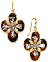 Charter Club Gold-Tone Crystal & Tortoise-Look Drop Earrings, Created for Macy's