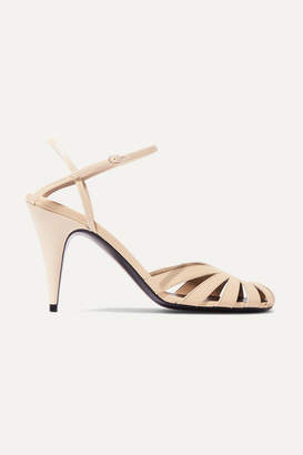 The Row Tango Cutout Leather Sandals - Beige