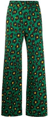 La DoubleJ x Mantero Flower Leopard print palazzo trousers
