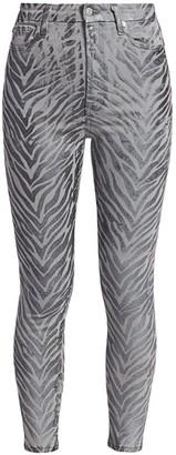 7 For All Mankind Metallic Zebra Print Coated High-Rise Skinny Jeans