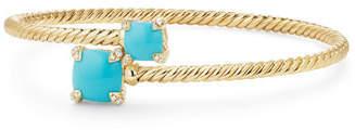 David Yurman Châtelaine 14k Turquoise Bypass Bracelet, Size S