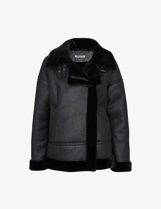 Whistles Faux-fur oversized biker jacket