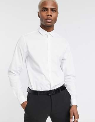 Asos Design DESIGN stretch slim formal work shirt in white