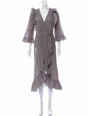 Ganni Plaid Print Wrap Dress Brown