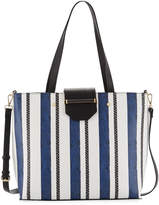 Neiman Marcus Florence Snake-Embossed Striped Tote Bag