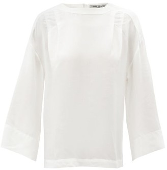 Three Graces London Phoebe Stitched-pleat Top - Cream