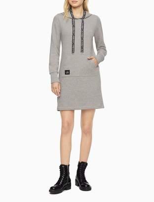 Calvin Klein Logo Tape Hooded Sweatshirt Dress