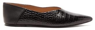Joseph Crocodile-effect Leather Collapsible-heel Flats - Womens - Black