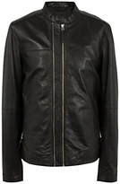 Pretty Green Addison Leather Biker Jacket, Black