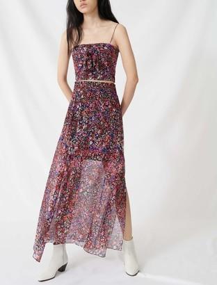 Maje Silk skirt with floral motif
