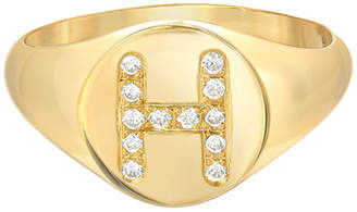Zoe Lev Jewelry Small Personalized Diamond Initial Signet Ring, 14k Yellow Gold