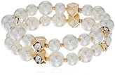 Anne Klein Gold-Tone Blanc Pear Two Row Stretch Bracelet