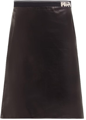 Prada Logo-intarsia Leather Pencil Skirt - Womens - Black