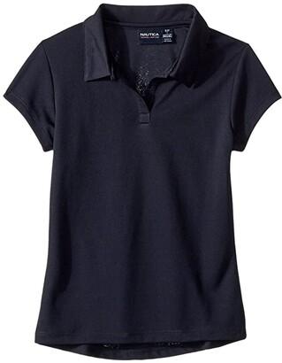 Nautica Short Sleeve Performance Polo (Big Kids) (Su Navy) Girl's Clothing