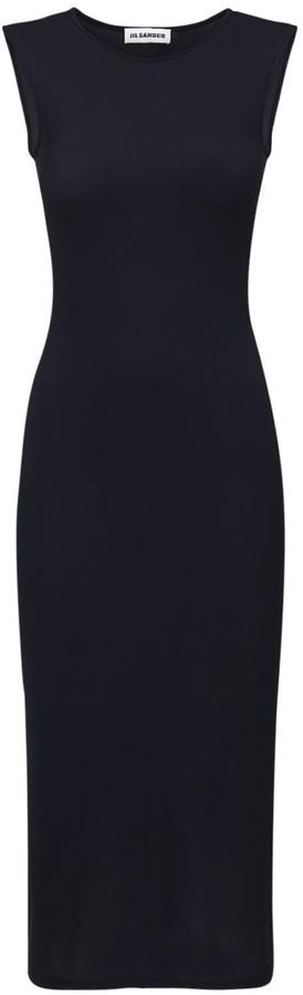 Jil Sander Fitted Stretch Jersey Midi Dress