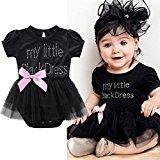 "Baby Girls Dress,Fheaven Newborn Baby Girls ""My Little Black Dress"" Embroidered Lace Little Black Dress Bodysuit (12MM, Black)"