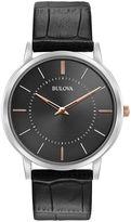 Bulova Mens Silver Tone And Black Classic Ultra Slim Leather Strap Watch 98A167