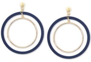 Zenzii Gold-Tone Suede-Painted Double-Hoop Drop Earrings