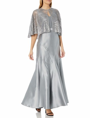 Ignite Women's Two Piece Sequined Capelet with Sleeveless V-Neck Long Gown