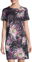 Trina Turk Floral-Print Short-Sleeve Shift Dress