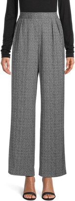 Anne Klein Herringbone Wide Leg Trousers