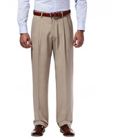 Haggar Mynx Gabardine Dress Pants - Classic Fit, Pleated Front, Hidden Expandable Waistband