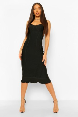 boohoo Tall Bandage Frill Hem Midi Dress