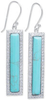 Macy's Manufactured Turquoise and Cubic Zirconia Bar Drop Earrings in Sterling Silver
