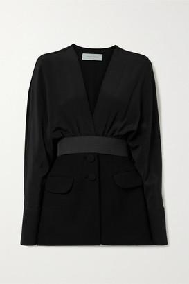 Silvia Tcherassi Charlotte Belted Silk-blend Crepe De Chine And Cady Jacket - Black