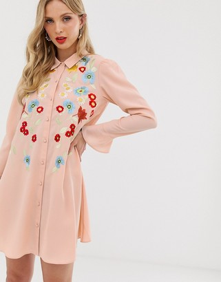 Asos Design DESIGN embroidered swing mini shirt dress-Pink