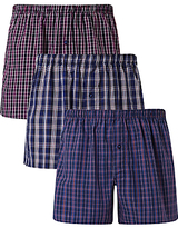 John Lewis Abbots Check Woven Cotton Boxers, Pack of 3, Navy