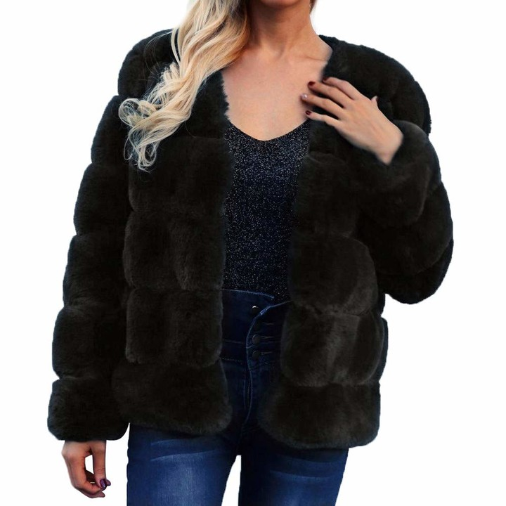 Thumbnail for your product : Jerfer Womens Ladies Warm Faux Fur Coat Jacket Solid Winter Gradient Parka Outerwear Autumn Cardigan Fall Winner Coat for Womens