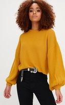 PrettyLittleThing Mustard Balloon Sleeve Knitted Jumper