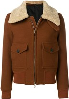 Ami Paris Zipped Jacket With Shearling Collar