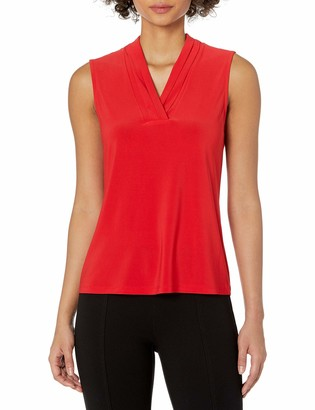 Anne Klein Women's Collared Sleeveless Knit Button Front TOP